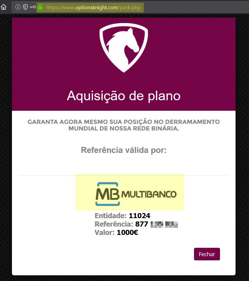 Método pagamento de Multibanco na fraude Options Knight