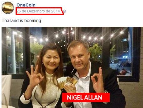 Nigel Allan, um scammer que já recrutar vítimas para a OneCoin. Agora está noutro golpe de moedas virtuais.