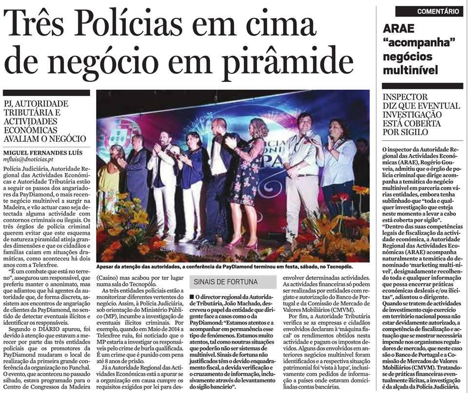 Polícia em Portugal investiga fraude PayDiamond (fonte: tenhodividas.com)