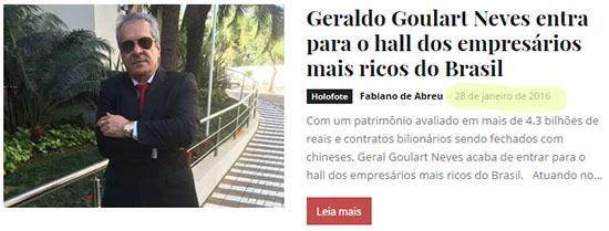 Notícia do bilionário de mentira Geraldo Goulart Neves. Piramideiros pagaram para publicar tretas com o intuito de criar personagem de bilionário..
