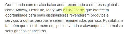 Notícia paga por piramideiros da Go-Liberty menciona o nome do esquema.