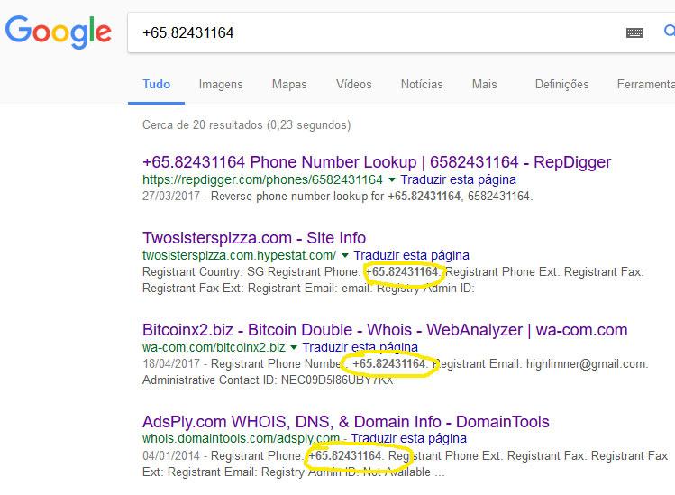 Número +65.82431164 da Singapura foi copiado da Internet