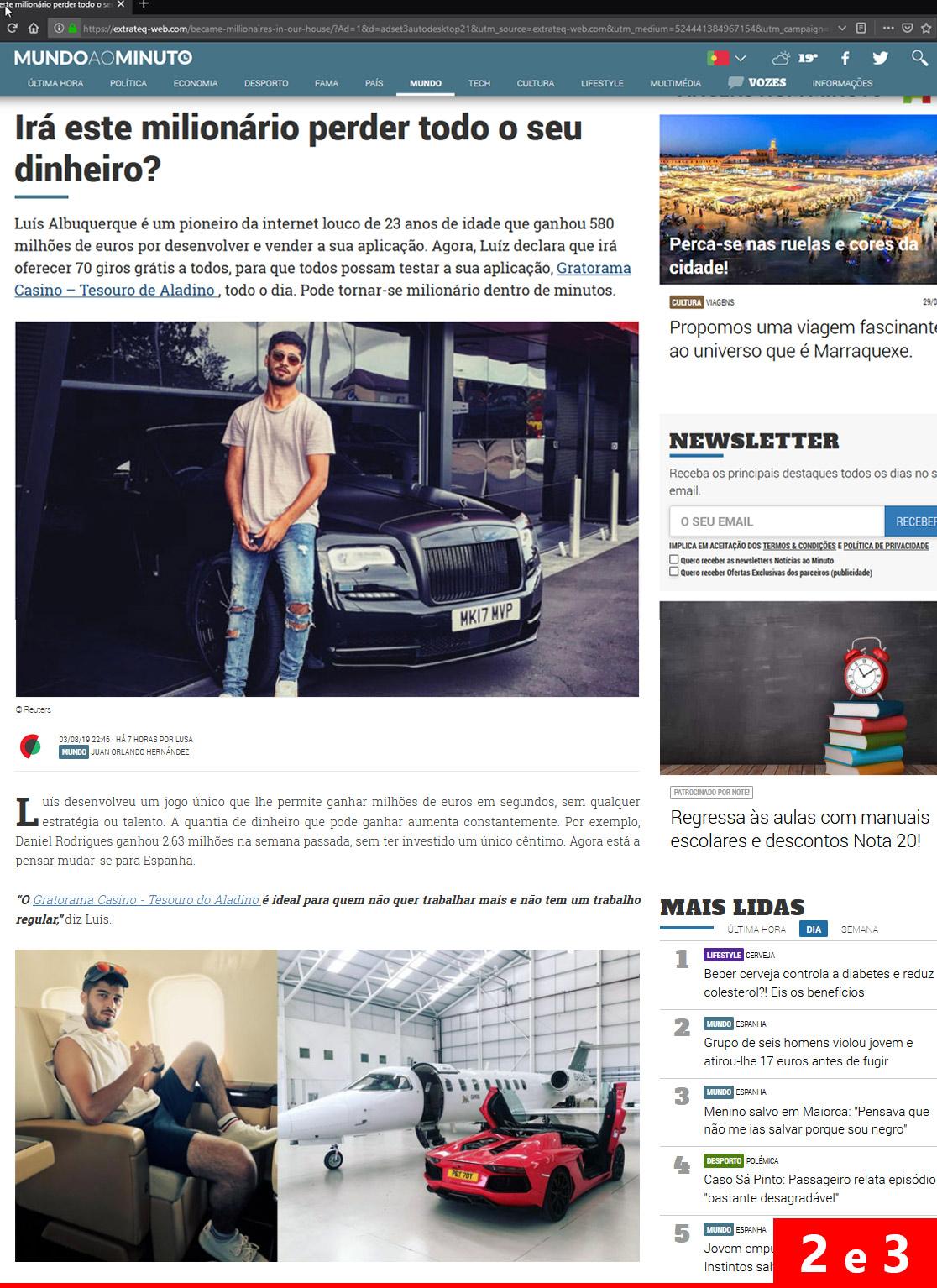 Página de captura do anúncio 2 e 3 do esquema