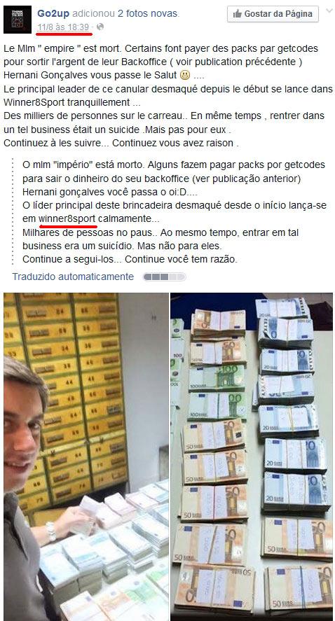 Página de ex-afiliado da Go2Up no Facebook alerta para o esquema Empire MLM e mostra duas fotos de Hernani, o principal promotor do esquema.