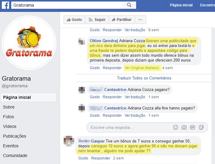 Página do facebook do Gratorama