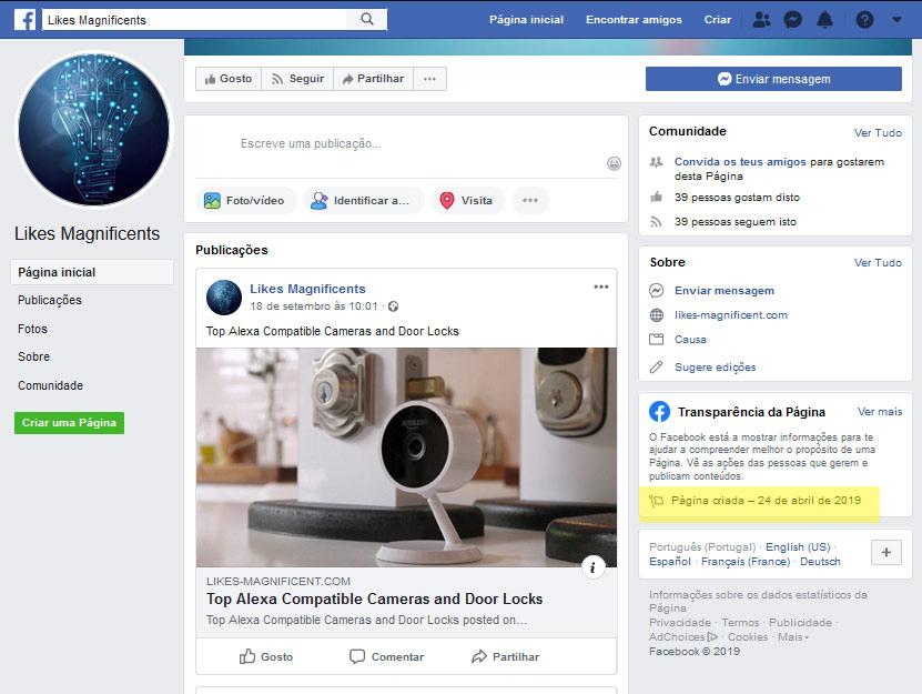 Página do facebook fantasma dos burlões da fraude Gratorama