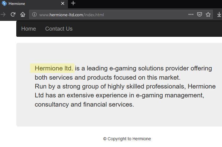 Página da Hermione Ltd, a suposta empresa por detrás da fraude Gratorama