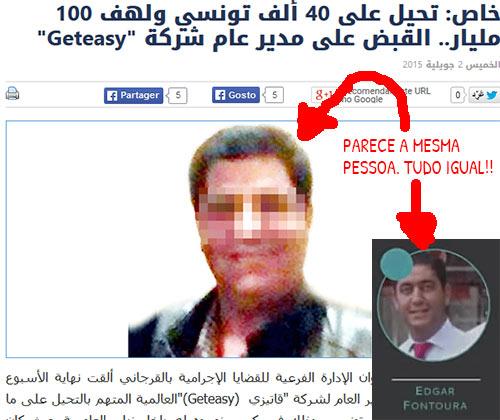 Site Assabah.com.tn usa foto de Edgar Fontoura com cara borrada e fala na sua prisão.