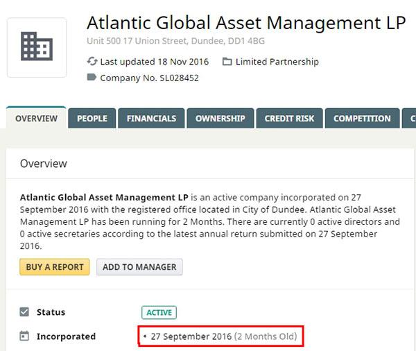 Registo da empresa fanstama Atlantic Global Asset Management na Inglaterra.