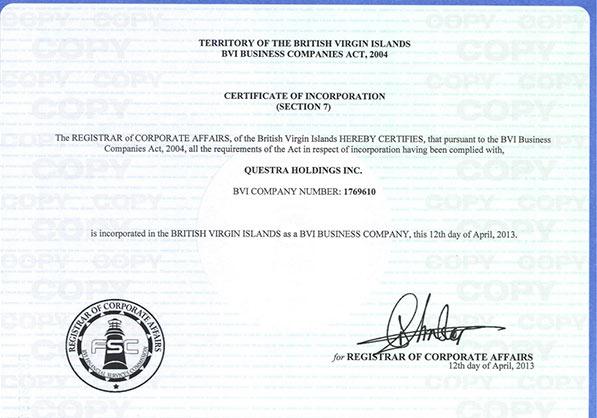 Registo da empresa fantasma Questra Holdings Inc num paraíso fiscal. Empresa usada para movimentar dinheiro das vítimas.
