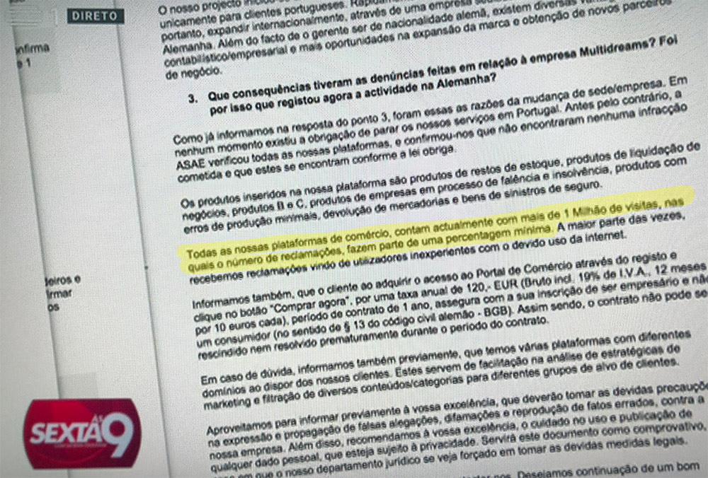 Respostas do dono da burla dos 120€ ao Programa Sexta às 9