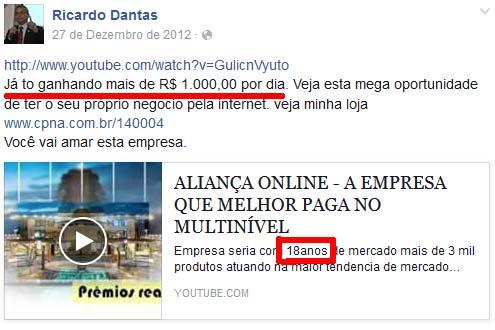 Ricardo Dantas em 2012 a dizer que a empresa já tinha 18 anos, e esquema só tinha semanas, a primeira versão.