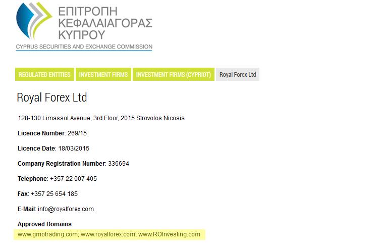 ROInvesting aparece na lista de domínios associados à Royal Forex Ltd, a empresa anónima por detrás da fraude.
