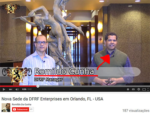 Romildo Cunha, outro brasileiro cúmplice de Daniel Filho. Não aparece em muitos vídeos da DFRF. Já esteve envolvido em outras supostas fraudes multinível que rebentaram. (Fonte: youtube.com)