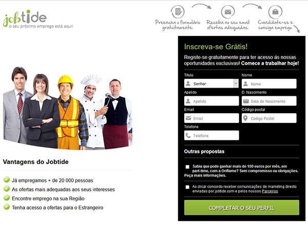 Site jobtide.com não tem ofertas de emprego na EDP, Sport Zone ou outras marcas como anunciaram.