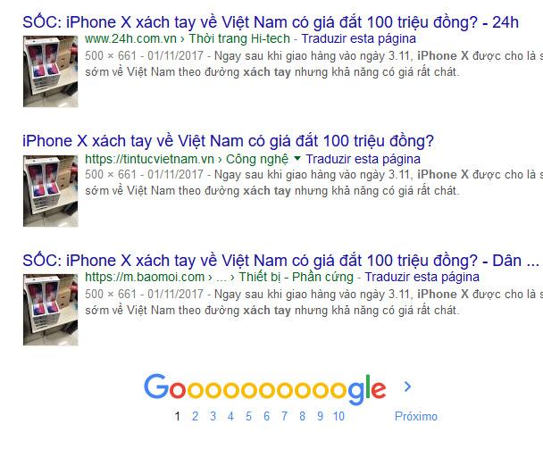 Outros sites com a mesma imagem do iPhone X
