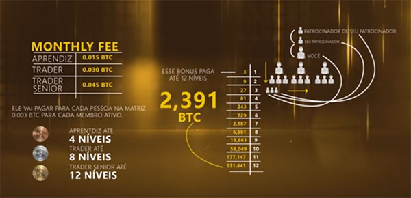 Ativo mensal da fraude Trade Coin Club