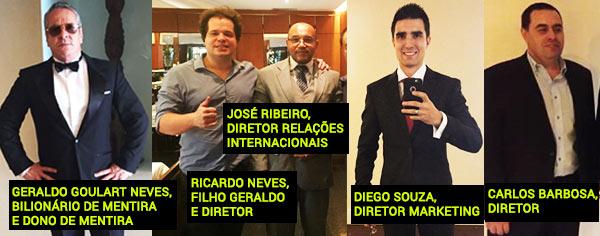 Os cúmplices na fraude Go-Liberty: Geraldo Neves, Ricardo Neves, José Ribeiro, Diego Souza e Carlos Barbosa. (fonte: facebook.com / instagram.com)