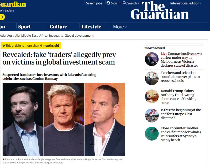 The Guardian expôs esquema com fake ads com vítimas no Reino Unido e Austrália.