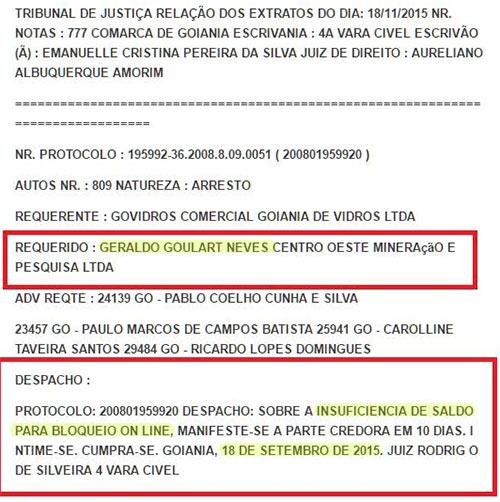 Tribunal no Brasil não encontrou dinheiro suficiente na conta de Geraldo Goulart Neves, o Bilionário de mentira.