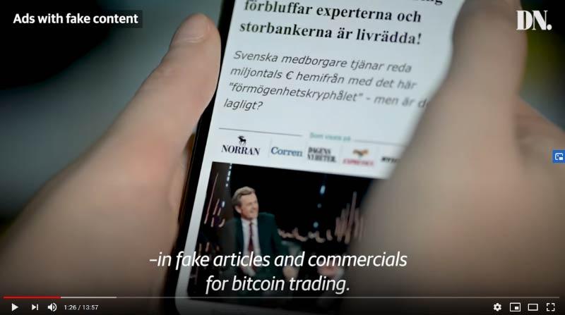 Vídeo do jornal Dagens Nyheter mostra sites usados pela fraude na Suécia. São semelhantes aos criados em Portugal.