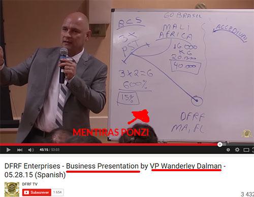Wanderley Dalman, cúmplice no esquema DFRF. Aparece em vários vídeos de apresentação do esquema. (Fonte: youtube.com)