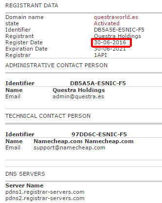 WHOIS domínio questraworld.es