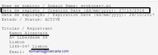 WHOIS domínio evobinary.pt