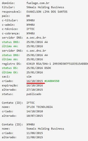 WHOIS domínio fuelage.com.br (fonte: tenhodividas.com)